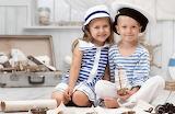 Children, sailor costume, suitcase, boat, hat, smile
