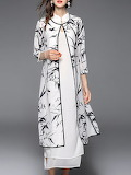 Veinfuns 'White 3/4 Sleeve Cotton-blend 2 Piece Mini Dress '