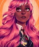 Pink hair brown eyes