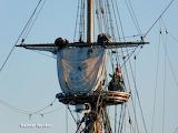 furling sail on Kalmar Nyckel