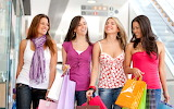 Girls, shopping, group, friends, walking, bags, smiling, happy