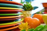 Colorful dinner set-Thanksgiving Buffet Table-Fiesta Blog