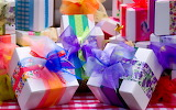 Gift packages, colored ribbons
