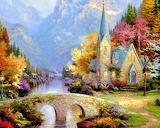 #The Mountain Chapel by Thomas Kinkade
