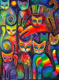 Rainbow cats acrylics by karincharlotte-d9cg151