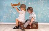 Children - plane - suitcase