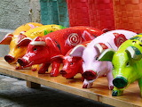 Colours-colorful-pigs in painted wood