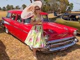 Chevrolet 1957 station wagon & woman