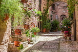 The flower streets of Spello in Umbria