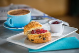 Fresh scones, tea, coffee, breakfast