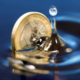 Closeup of Euro coin in water!