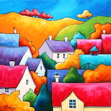 Village-houses-hills-painting-art-by-Gillian-Mowbray
