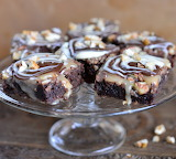 Brownie with caramel walnut topping