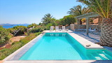 Luxury seaview pool and terraced garden, Greek islands