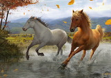 Leaves, squirt, river, tree, wind, horse, art, running, painting