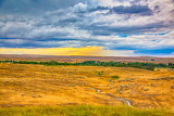 Fields, nature, trees, sky, clouds, sunset, colorful, landscape