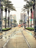 After rain New Orleans streetcar