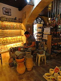 Crete, Chania, potter at work in shop