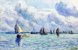 Boats on the Meuse at Rotterdam by Maximilien Luce 1909