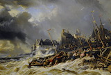 Hurricane before St Malo by Eugene Louis Gabriel Isabey