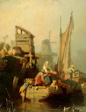 "'A River Landscape with shipping"" by Eugène Lepoittevin"
