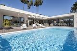 Luxury white modern villa and pool Lisbon Portugal