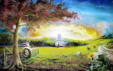 Little Church at dawn fentasy nature macro anime paintings1