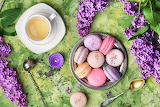 Tea, flowers, lilac, cup, macaroons, macaron