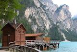 Mountain chalet lake dock view
