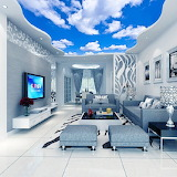 3-D Mural, Blue Sky, Home Interior