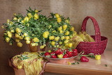 Strawberry,flowers, marigold, basket, scarf, table, fruit