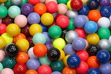 Colourful golf balls