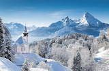 Winter, alps, church, snow, landscape