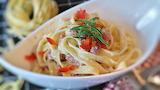 Noodles-ham-tomato-rosemary