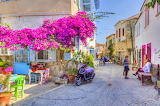 Tavern, street, people, flowers, beautiful city, Turkey