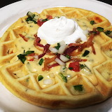 ^ Potato and scallion waffle with roasted poblano and Ashe Count