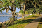 Sidewalk along Mobile Bay Fairhope Alabama
