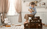 Boy, suitcase, binoculars, room, teddy bear, window, shelves