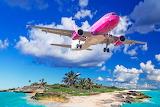 Sand, sea, beach, sky, tropics, plane, stones, palm trees, islan