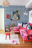 Blue and cherry pink living room