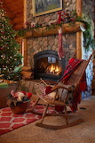 By the fireplace....