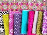 Rainbow of fabric swatches