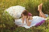 Woman, field, summer, grass, girl, flowers, nature, umbrella, br