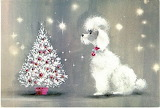poodle and Christmas tree