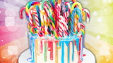 Cake decorated with candy canes