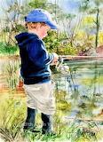 Boy Fishing by Judith Stein