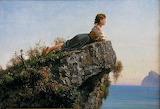 Filippo Palizzi, Fanciulla sulla roccia a Sorrento, ca 1871
