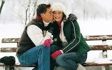 Man, woman, bench, winter, snow, love