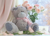 Teddy bear, roses, flowers, pink color