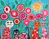 folk art cats